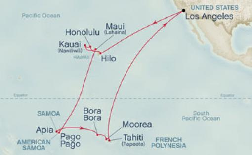 Gran Crucero Del Pacifico Sur Hawaii Y Bora Desde Los: Mapa Los Angeles Hawai At Usa Maps